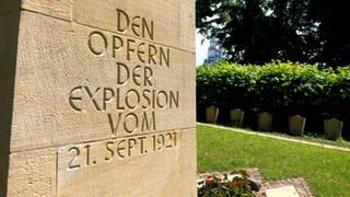 Gedenktafel: Opfer der BASF-Katastrophe vom 21. September 1921 (Foto: SWR)