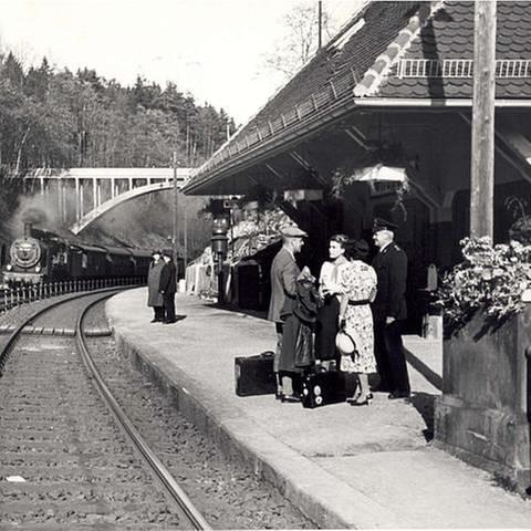 Bahnhof Wildpark 1, 1938 AK Eisenbahnhistorie (Foto: (Sammlung des Arbeitskreises Eisenbahn-Historie Württemberg))