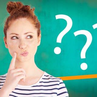 Montage von einem rothaarigen Mädchen, dass fragend schaut und drei weiße Fragezeichen (Foto: Getty Images/SWR)