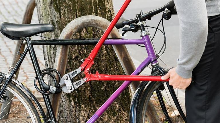 Ein Fahrradschloss wird von einem Mann aufgeschnitten (Foto: Getty Images, Thinkstock -)