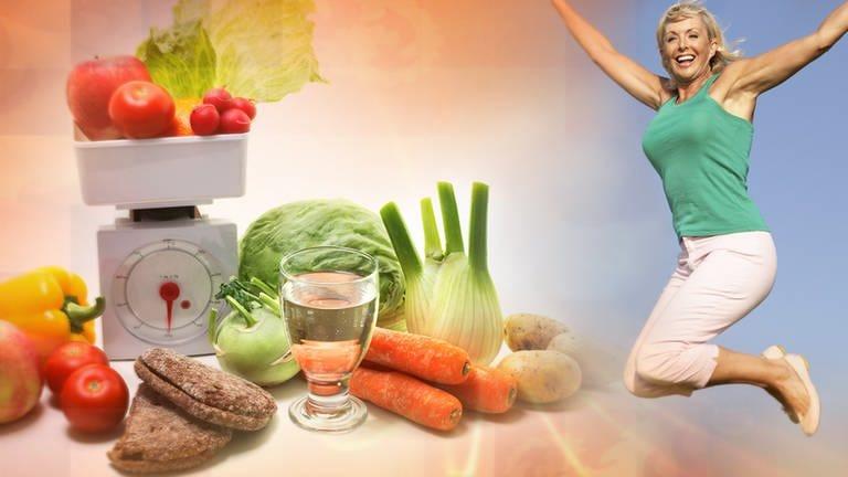 Frau springt in die Luft, daneben Gemüse und Obst (Foto: Colourbox)