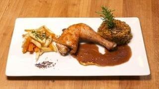 Hähnchenbrust in Feigen-Barbecue-Marinade mit Grünkern-Pilz-Risotto (Foto: SWR, SWR -)