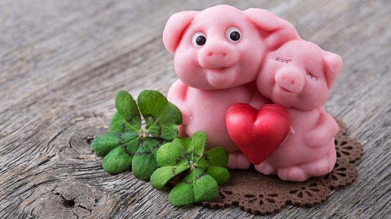 Marzipanschweine und vierblättrige Kleeblätter. (Foto: Getty Images, Thinkstock -)