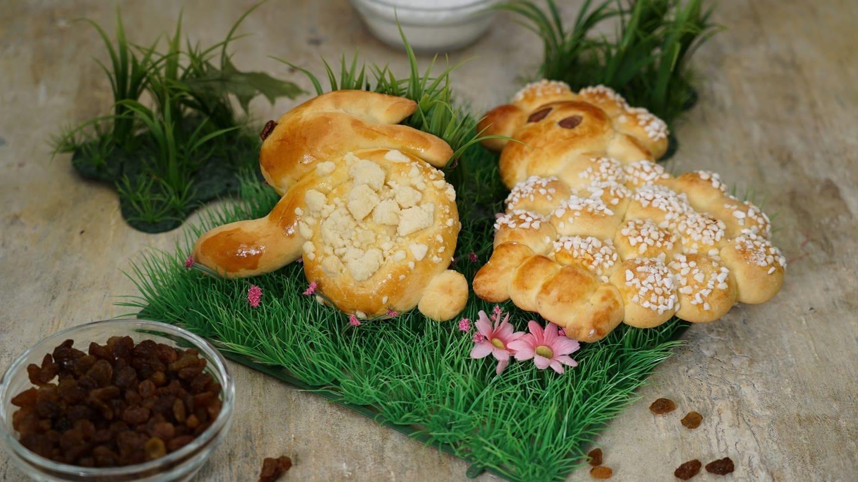 Osterlamm und Osterhasen aus Hefeteig (Foto: SWR)