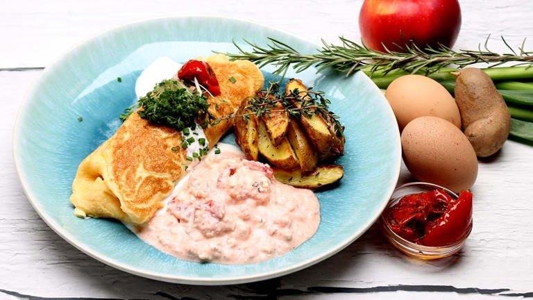 Omelett mit Räucherforelle