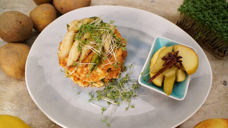 Kartoffelpuffer mit Spargel-Kresse-Salat (Foto: SWR)