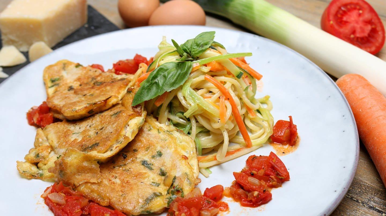Schnitzel mit Spaghetti und Gemüse