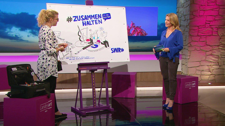 Moderatorin Patricia Küll mit weiblichem Studiogast in der Sendung