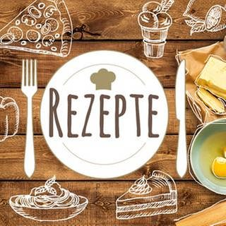 Ein Holztisch mit Lebensmitteln, Besteck und Geschirr (Foto: Getty Images, Thinkstock - SWR Montage)