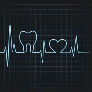 Eine animierte Herzlinie auf einem Herzmonitor zeigt einen Zahn und ein Herz an, dazwischen normale Herztöne. (Foto: Getty Images, Thinkstock -)