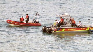 Zwei DLRG-Schlauchboote im Rhein (Foto: SWR)