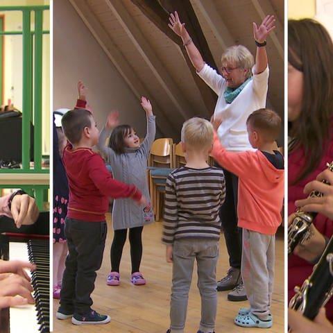 Kinder im Musikunterricht, beim Musizieren, Tanzen un spielen (Foto: SWR)