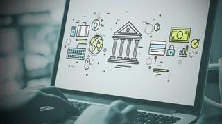 Laptop-Bildschirm mit Grafik zu Online-Geldtransaktionen (Foto: SWR)