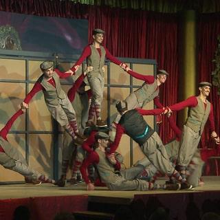 """Männerbalett """"Die Tornados"""" aus Weiler bei Bingen tanzen auf der Fastnachtsbühne (Foto: SWR)"""