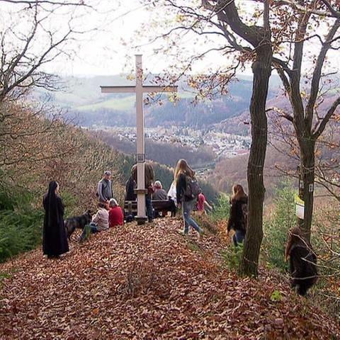 Wanderer blicken ins Wiedtal (Foto: SWR, SWR -)