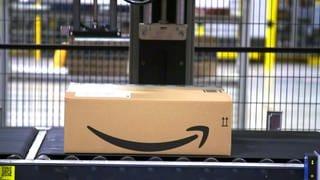 Ein Päckchen von Amazon auf einem Förderband (Foto: SWR)