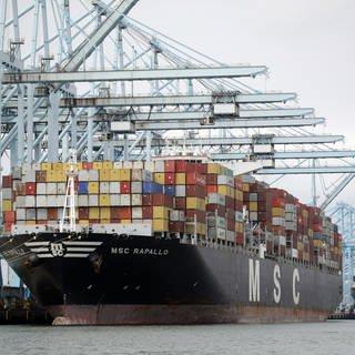 ein Containerschiff steht am Hafen von Los Angeles (Foto: SWR, picture alliance/Marcio Jose Sanchez/AP/dpa)