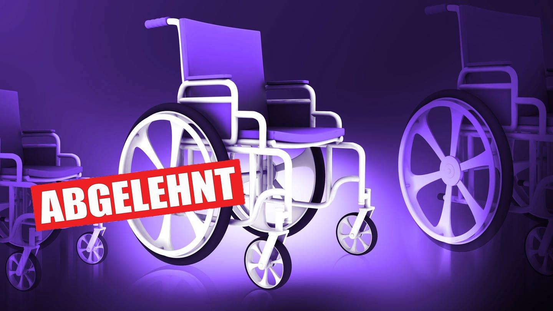 Zeichnung eines Rollstuhles mit Stempel abgelehnt (Foto: Colourbox)