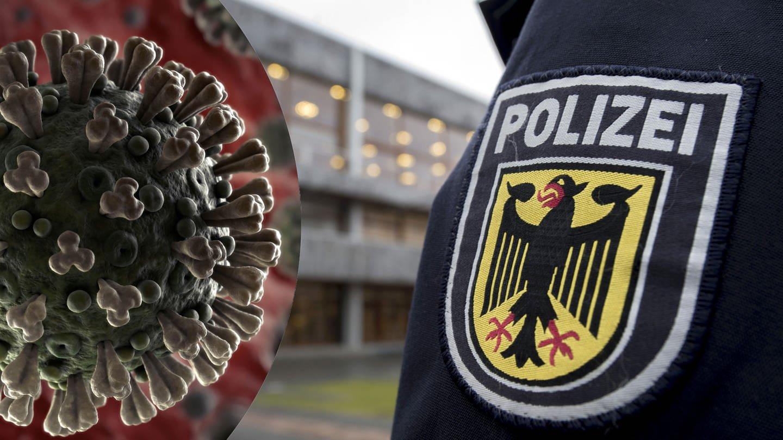 Auf einer Uniform das Abzeichen der Bundespolizei zu sehen, dazu die Grafik des Coronavirus: Die Polizei warnt vor Corona-Abzocke