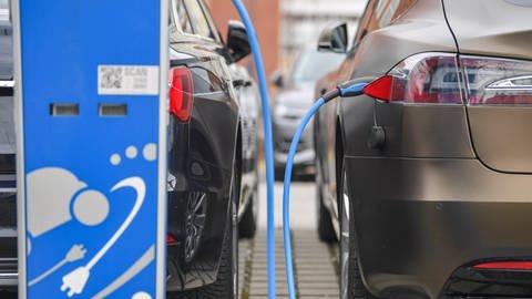 E-Mobilität: Ein Elektroauto der Marke Tesla wird an einer Stromtankstelle aufgeladen. (Foto: dpa Bildfunk, Patrick Pleul/ZB/dpa)