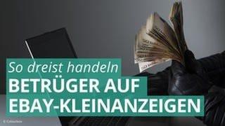 Person mit schwarzen Handschuhen hält Bündel Geldscheine vor einem Laptop. Ebay-Betrüger nutzen häufig dubiose Internetkonten. (Foto: Colourbox)