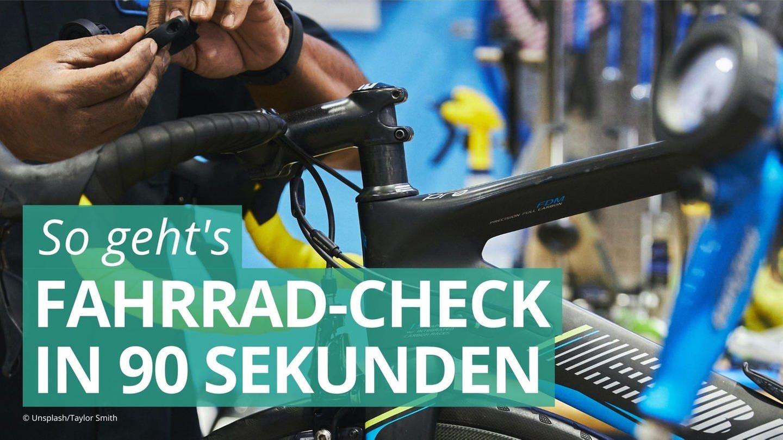 Mann repariert Fahrrad. Im Schnellcheck werden Verschraubungen, Räder und Bremens überprüft. (Foto: Unsplash/Taylor Smith)