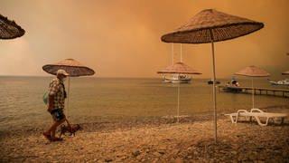Ein Mann geht mit einem Hund durch rauchverhangene Luft an einem Strand entlang. In der Türkei kämpften Tausende Einsatzkräfte den fünften Tag in Folge gegen Waldbrände. (Foto: dpa Bildfunk, picture alliance/dpa/AP | Emre Tazegul)