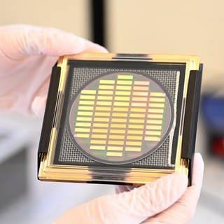 Ein Wafer mit neuentwickelten Chips zum Einsatz in Quantencomputern von Q.ant. Das Trumpf-Tochterunternehmen hat ein weltweit einzigartiges Verfahren entwickelt für die Serienfertigung von Quantencomputer-Chips. (Foto: dpa Bildfunk, picture alliance/dpa | Bernd Weißbrod)