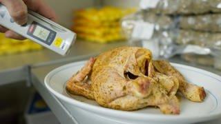 Lebensmittelkontrolle: Temperaturmessung an einem Hähnchen (Foto: dpa Bildfunk, Uwe Anspach/dpa-Bildfunk)