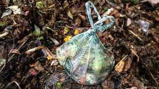 Auch eigentlich kompostierbare Tüten bereiten bei der Verarbeitung zu Kompost Probleme. (Foto: dpa Bildfunk, dpa Bildfunk -)