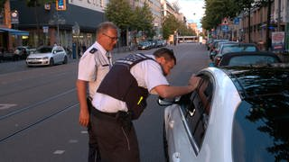 Polizisten bei einer Verkehrskontrolle (Foto: SWR)